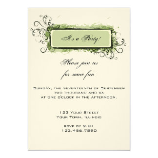 Green Abstract Floral Party Invitation