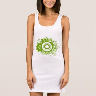 Green Abstract Floral Swirl Design Sleeveless Dress