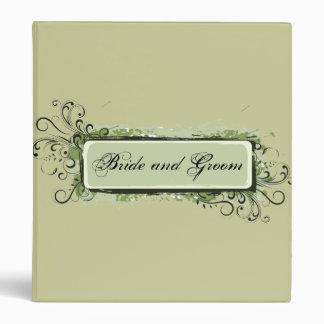 Green Abstract Floral Wedding Binder