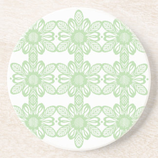 Green abstract flowers coaster