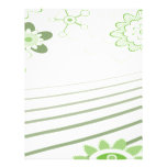 green abstract flowers customized letterhead