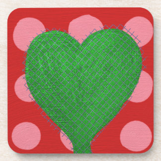 Green Abstract Heart on Pink and Red Polka Dots Drink Coaster