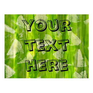 Green Abstract Jungle Watercolors Painting Postcard