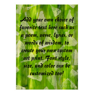 Green Abstract Jungle Watercolors Painting Poster