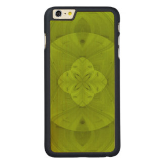 Green abstract Line Pattern Carved Maple iPhone 6 Plus Slim Case