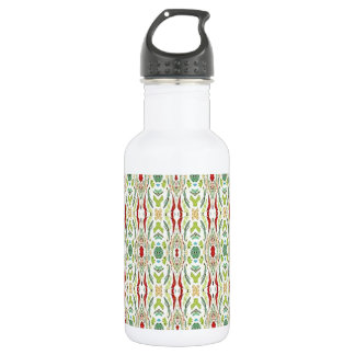 Green Abstract  Nature Shapes Design Water Bottle