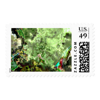 Green Abstract Nebula Stamps