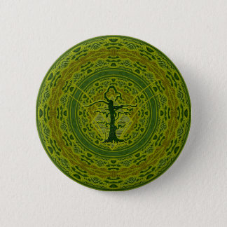 Green Abstract Old Withered Tree Button