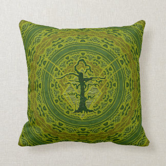 Green Abstract Old Withered Tree Pillows