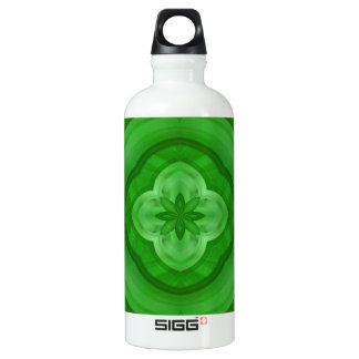 Green abstract pattern aluminum water bottle