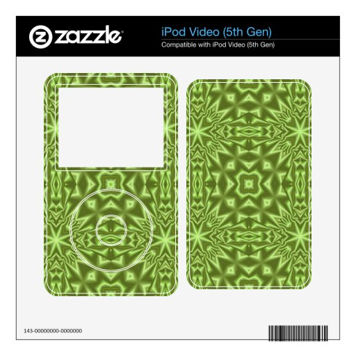 green abstract pattern decals for the iPod video