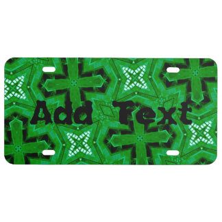 Green abstract Pattern License Plate