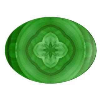 Green abstract pattern porcelain serving platter