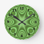 Green Abstract Pattern Round Wall Clocks
