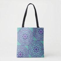 Green abstract purple shoulder cloth bag