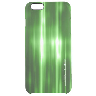 green abstract shiny lights personalized by name clear iPhone 6 plus case