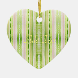 Green abstract striped watercolor pattern ceramic ornament