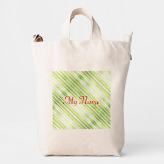 Green abstract striped watercolor pattern duck bag