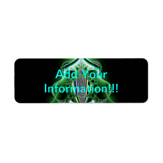 Green Abstract Tower Blob Return Address Label