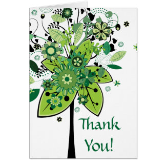 Green Abstract Tree Card
