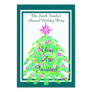 Green Abstract Tree Christmas Holiday Party Custom Custom Announcements
