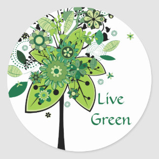 Green Abstract Tree Classic Round Sticker