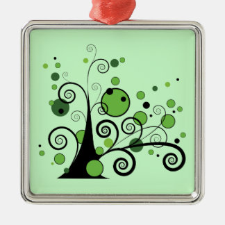 Green Abstract Tree Metal Ornament