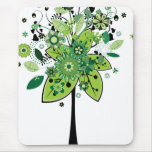 Green Abstract Tree Mouse Pads