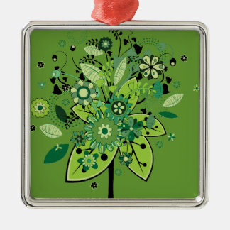 Green Abstract Tree Square Metal Christmas Ornament