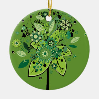 Green Abstract Tree Double-Sided Ceramic Round Christmas Ornament