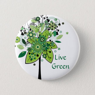 Green Abstract Tree Pinback Button