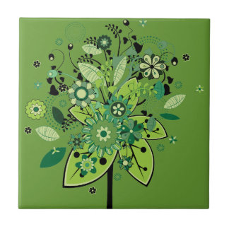 Green Abstract Tree Small Square Tile