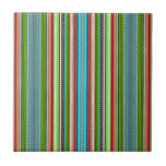 Green Abstract Tribal Chevron Ceramic Tile