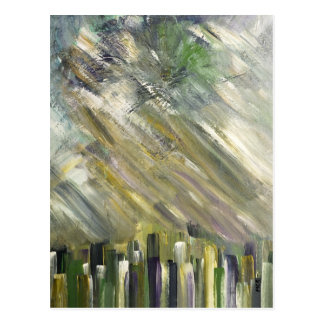 Green Abstract Urban City Fine Art Cards