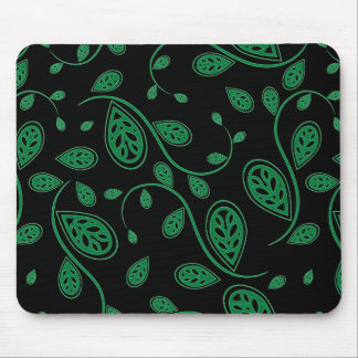 Green Abstract Vine Pattern Mouse Pad