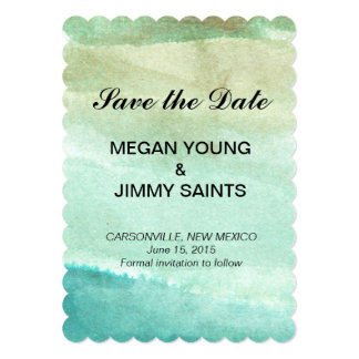 green abstract watercolor save the date card