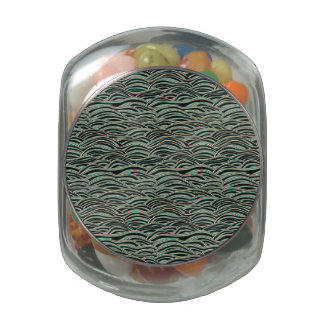 Green abstract waves pattern. Sea texture. Glass Jars