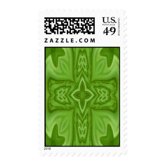 Green abstract wood cross stamps