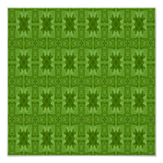 Green abstract wood cross poster