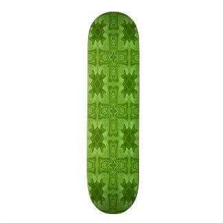 Green abstract wood cross skateboard deck