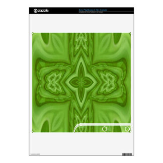 Green abstract wood cross skin for the PS3 slim