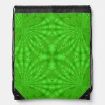 Green abstract wood Pattern Drawstring Backpacks