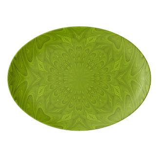 Green abstract wood pattern porcelain serving platter