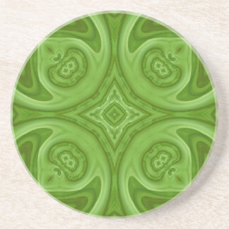 Green abstract wood pattern sandstone coaster