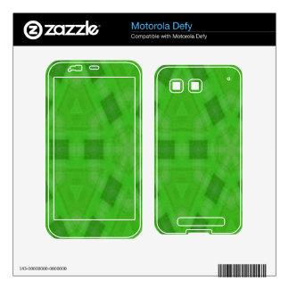 Green abstract wood Pattern Motorola Defy Skin