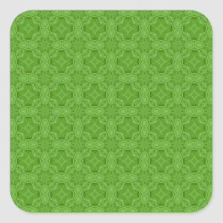 Green abstract wood pattern square sticker