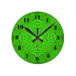 Green abstract wood Pattern Wall Clocks
