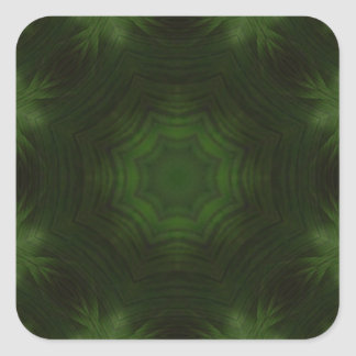 Green abstract wood square sticker