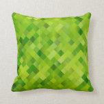 Green abstraction throw pillows