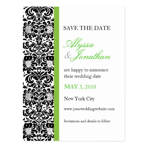 Green Accent Damask Save the Date Card Post Cards